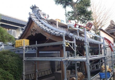 一宮市の正瑞寺様の水盤社修復完了